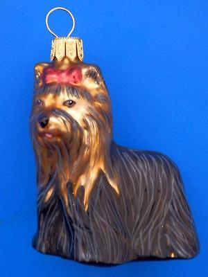 Yorkshire Terrier Dog Yorky European Blown Glass Christmas Tree Ornament