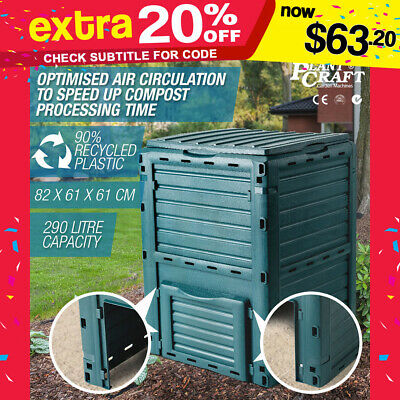 PlantCraft 290L Aerated Compost Bin Food Waste Garden Recycling Composter Green