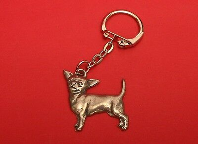 Chihuahua Dog Collectable Pewter Keyring FREE POUCH Mum Dad Gift NEW
