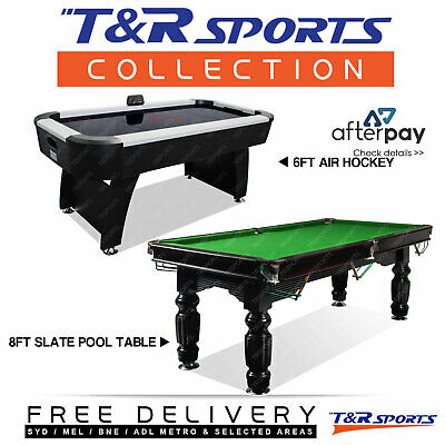 Game Room Package 8Ft Slate Pool Table + 6Ft Air Hockey Table Free Metro Post*