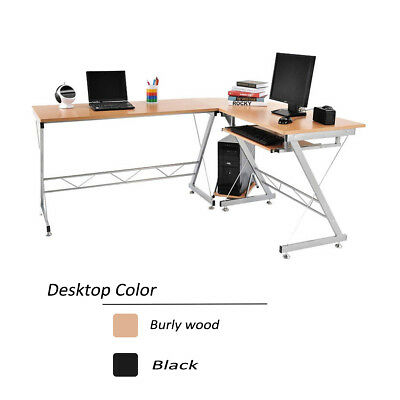 Wood L-Shaped Computer Desk  Corner PC Laptop Table Workstation Home Office New