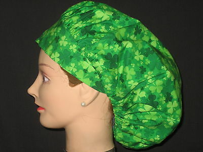 Surgical Scrub Hats Caps St.Patrick's Day  Variegated Green Shamrocks