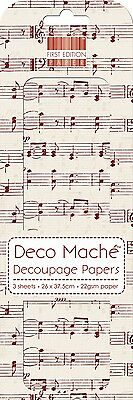 First Edition Red Music Notes Deco Mache Decoupage Decopatch Papers FEDEC164X15