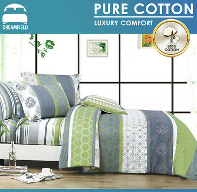 All Size Bed Quilt Duvet Doona Cover Set 100% Cotton-Dexter-Super King Bedding