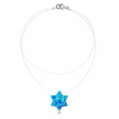 Star of David Floating Illusion Blue Opal Pendant on Clear Invisible Necklace