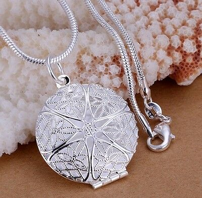 925 Sterling Silver Round LOCKET Photo Pendant Charm Necklace Chain Jewelry Gift