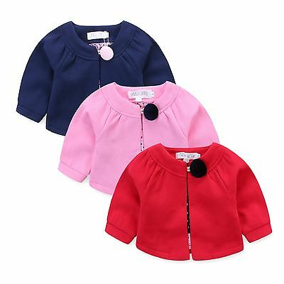 Baby/Girls Cosy Warm Button Silk Lining Cardigan RED NAVY PINK WHITE sz000-6 606