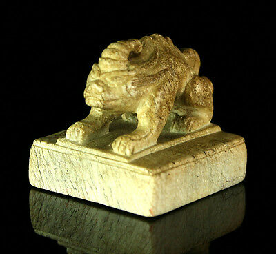Extremely Rare Early Chinese Jade Stamp Featuring A Qilin