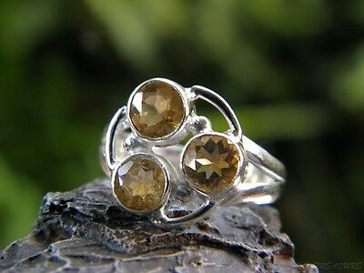 Citrine Triplet & 925 SOLID Silver RING (Size 5 1/2, K 1/2)    #241512