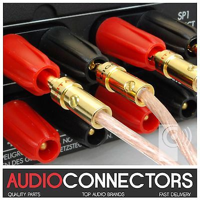 4 x Hi-Fi 4mm BFA-Z Banana Plug Amplifier cable connectors (BZ1) - THAT'S AUDIO