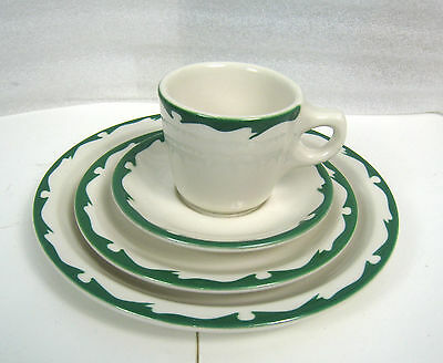 Buffalo China Green Crest 4 Piece Set - Restaurant Ware New Old Stock Early 60's