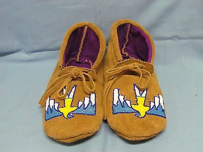 Native American Beaded Moccasins 9 Inches Stunning Free Eagle Design, Unisex