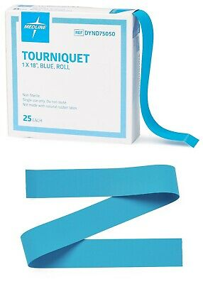 "MEDLINE Latex Free Tourniquet Blue 1""x18"" 25/Roll Box DYND75028 Tourniquets New"