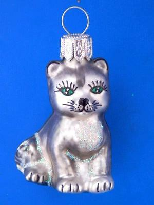 Mini Grey Cat Kitten European Blown Glass Christmas Tree Ornament Katze Gray