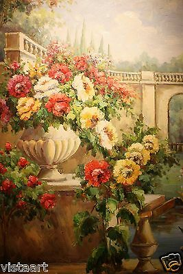 Quality Oil Painting on Stretched Canvas 24x36 Bouquet in Outdoor Carved Planter