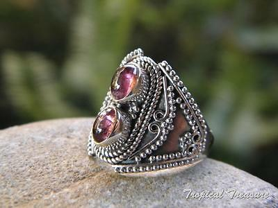 Red Garnet Duo & 925 SOLID Sterling Silver RING (Size 6, L 1/2)