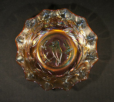 1920's Marigold Carnival Glass 24 Cm Master Bowl Kingfisher Gum Leaves Good Cond