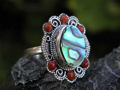 Abalone, Red Coral and 925 SOLID Silver RING (Size 6 1/2, M 1/2)