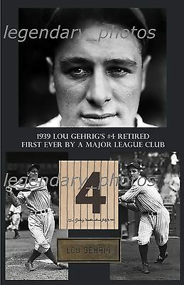 """Lou Gehrig Retired Number - 11"""" x 17"""" High Quality Poster"""