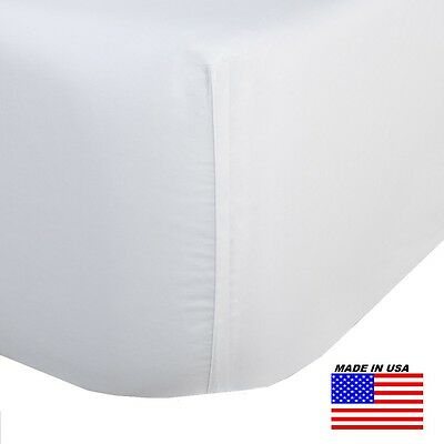 3 Queen Size White Fitted Sheet 60X80X12 T-250 Percale Hotel Grade  Deep Pocket