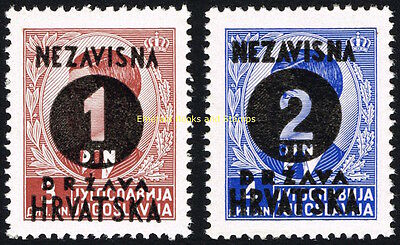 EBS Croatia Hrvatska NDH 1941 5th overprints set Michel No 41-42 Mint Hinged*