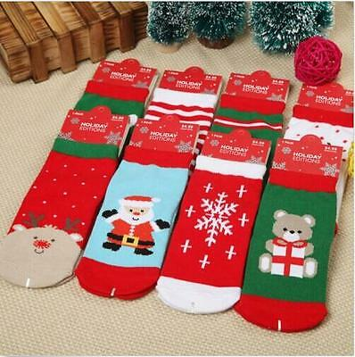 1xBaby Kids Unisex Cotton Winter Christmas Warm Cute Pattern Socks Toddler Shoes
