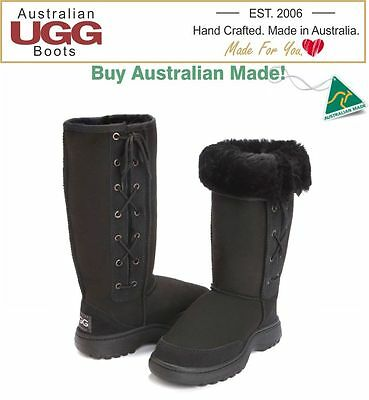 100% Australian Made OUTDOOR SOLE Lace UP Sheepskin Ugg Boots|Great for Camping!