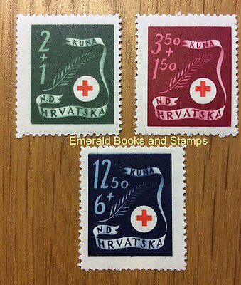 EBS Croatia Hrvatska NDH 1944 Red Cross set Michel No 167-169 MNH**