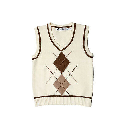 NEW Kids Boys Child Knitted V Neck Sleeveless Sweater Vest Winter Outfit sz 0-6