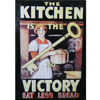 French Country Vintage Inspired Wall Tin Sign KITCHEN VICTORY EAT LESS BREAD ...
