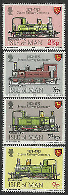 ISLE OF MAN 1973 STEAM RAILWAY CENTENARY TRAINS 4v MNH