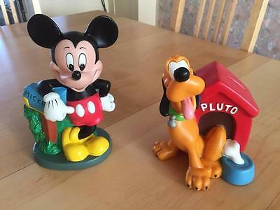 Rare! Walt Disney Mickey Mouse and Pluto in Doghouse Piggy Banks Statues Set