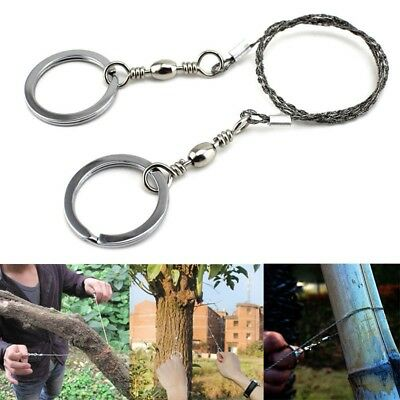 2x Steel Wire Saws 55cm Mesh Wire Safety Survival Camping Military Hiking