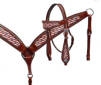 SHOWMAN Stars & Stripes overlay headstall and breast collar set! NEW HORSE TACK