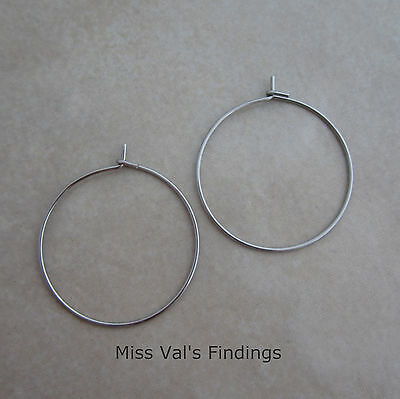 500 stainless steel earring wires or wine glass charm hoops 21 gauge 25mm