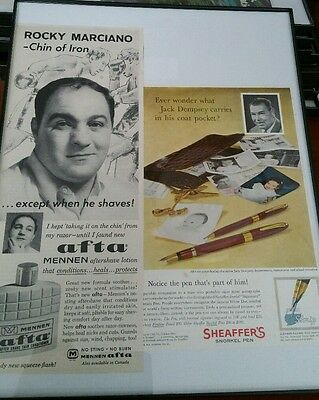 Vintage Rocky marciano Afta Ad and Jack Dempsey Sheaffer's Ad.