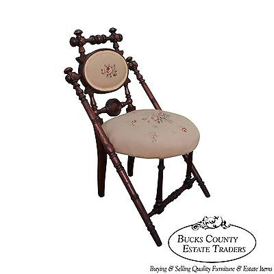 Hunzinger Signed Antique Walnut Needlepoint Side Chair circa 1869 (C)