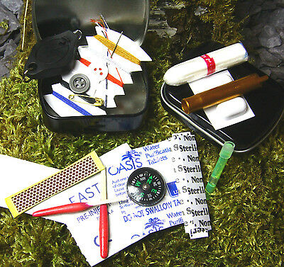 2 x POCKET SMALL EMERGENCY SURVIVAL KIT - 29 Items, Bushcraft, Camping, Military