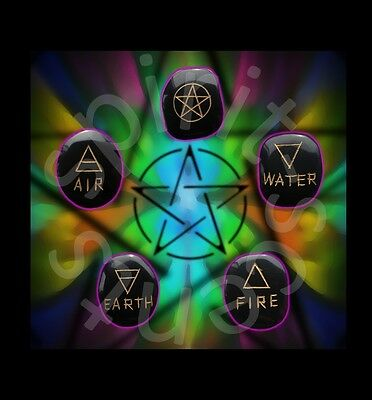 Wiccan~ element stones X 5 ~ Element-Earth, Air, Fire, Water, Spirit~ Healing