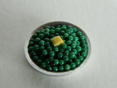 (F1-2) Dolls House Food : Metal Bowl Of Buttered Peas