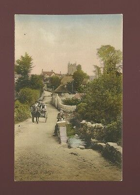 Devon LUSTLEIGH Village locals pony & trap pre1919 PPC