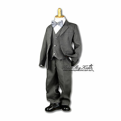 BNWT Page Boys Kids Charcoal Formal Christening Wedding Suit 5Pcs 000-16