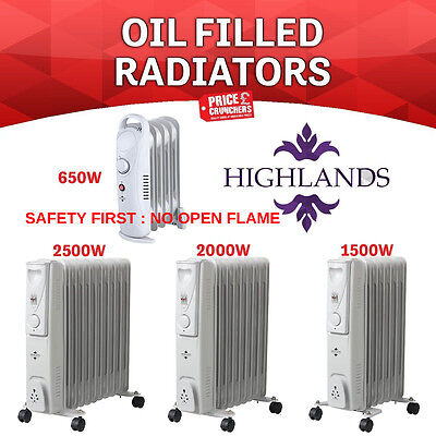 7/9/11 Fin Oil Filled Portable Electric Radiator Heater Adjustable Thermostat