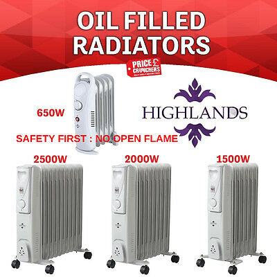 Oil Filled Radiator Heater Electric Portable 7 9 11 Fin Adjustable Temp Caravan