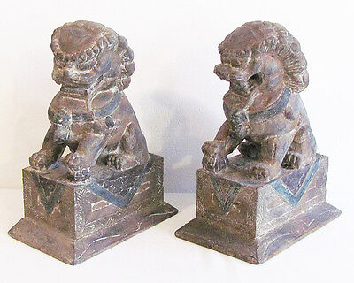 "Pair LARGE 14"" Vintage 1950's Chinese Wooden Fu Foo Dogs Lion Protector Statues"