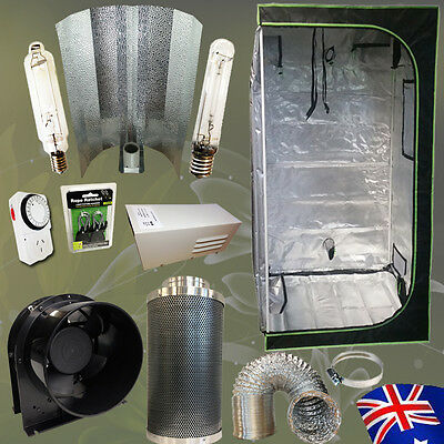 """Hydroponic 1.2m Grow Tent 600w HPS MH Lamp Wing Shade Reflector 6"""" Carbon Filter"""