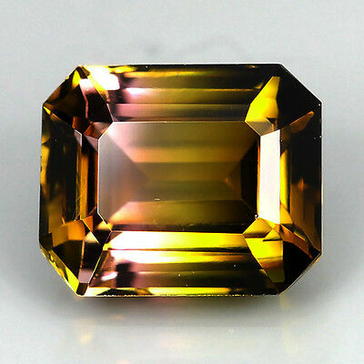 NATURAL FANTASTIC BI COLOR TOURMALINE OCTAGON 2.28 Ct GEMSTONE