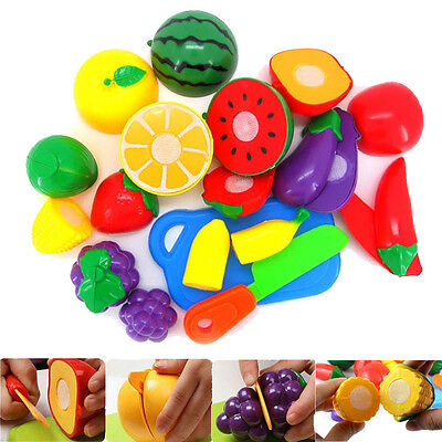 1Set Funny Cutting Fruit Vegetable Pretend Play Children Kids Educational Toy