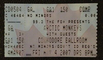 ARCTIC MONKEYS-Concert Ticket Stub-Vancouver-May 4, 2007-Favourite Worst Nightma