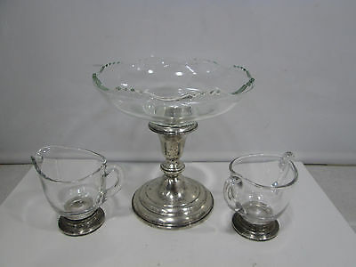 Vintage Whiting Sterling & Glass Candy Dish & Unmarked Sugar & Creamer